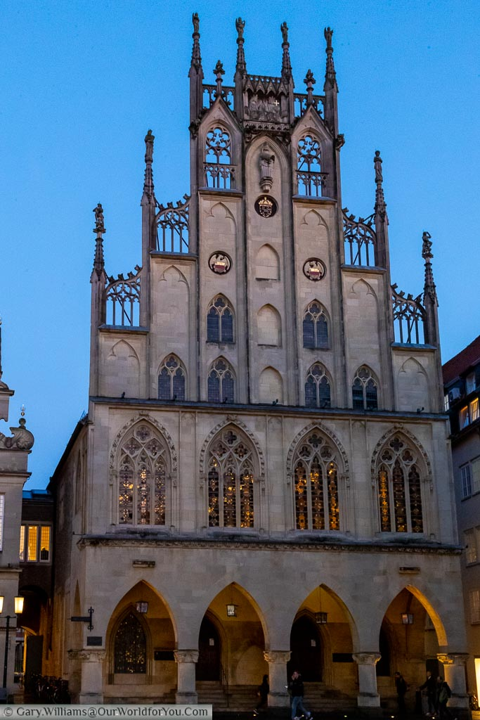 Münster's historic Rathaus has been lovingly restored following it's near destruction during World War Two.  The ornate gothic gable end stood as a symbol to the towns Prince Bishop whose own home is a mere 250 meters away.