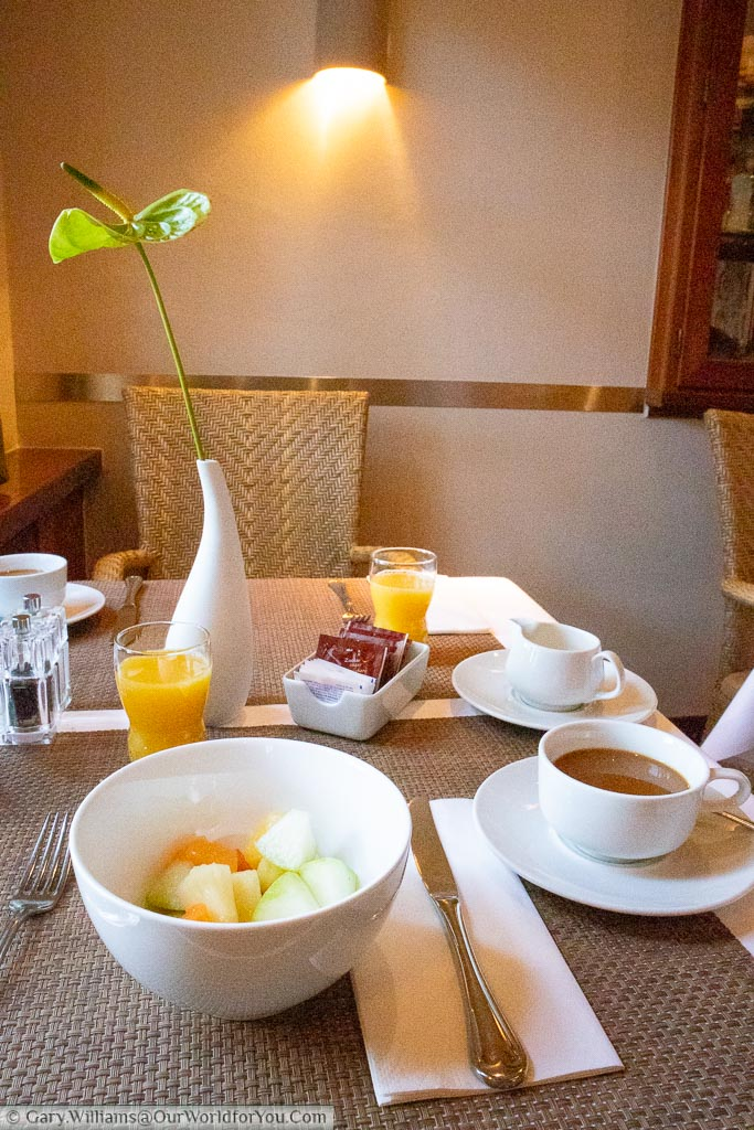 The breakfast table at the Best Western Premier Alsterkrug Hotel, Hamburg.  We started with a bowl of fruit cup of coffee and a glass of orange juice but there's a wide selection of foods available.