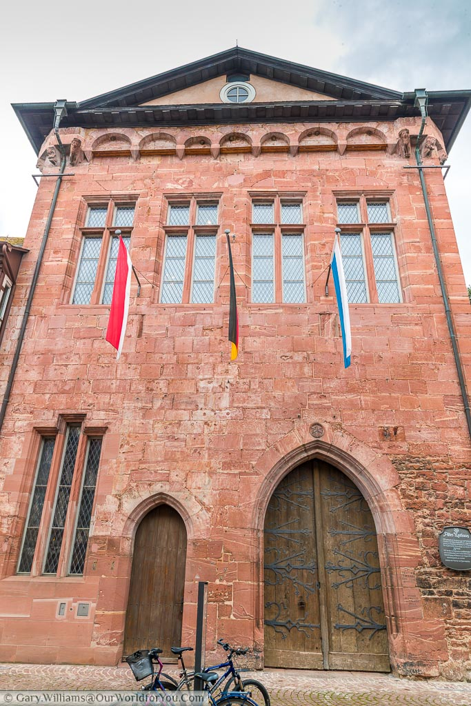 2 wooden doors in the red brick building the old Rathaus of Miltenberg