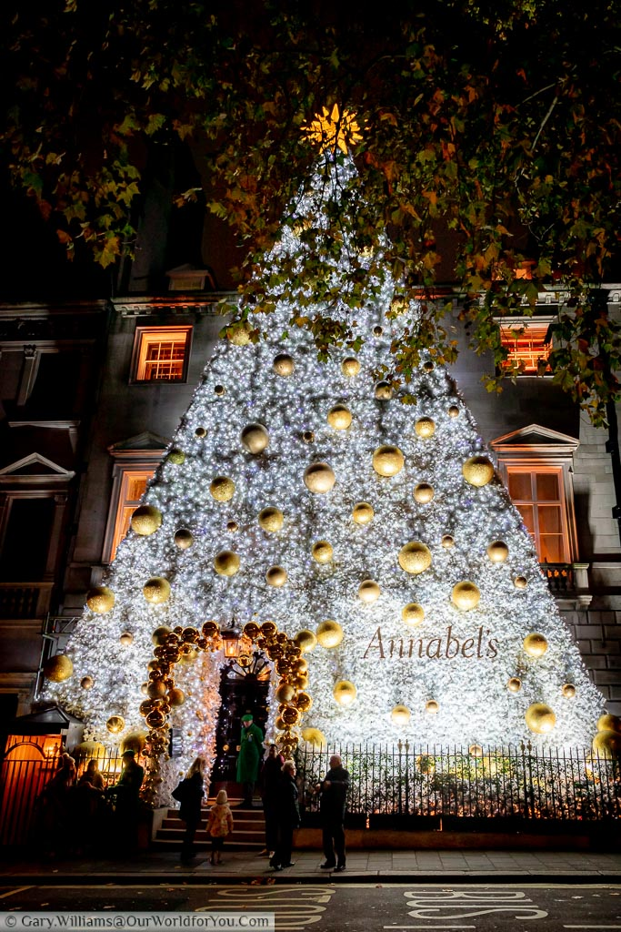 The massive Christmas Tree facade to Annabel's Private Member's club at dusk.  This year's display is a white Christmas tree, decorated with golden baubles, topped with a golden star.