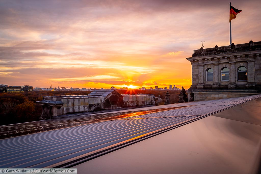 A view of the sunset to the west of Berlin from the roof of the Reichstag.