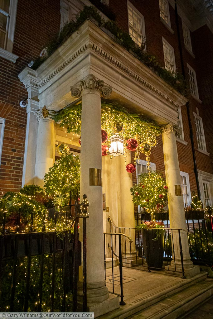 A beautifully decorated ornate entrance in London's Mayfair