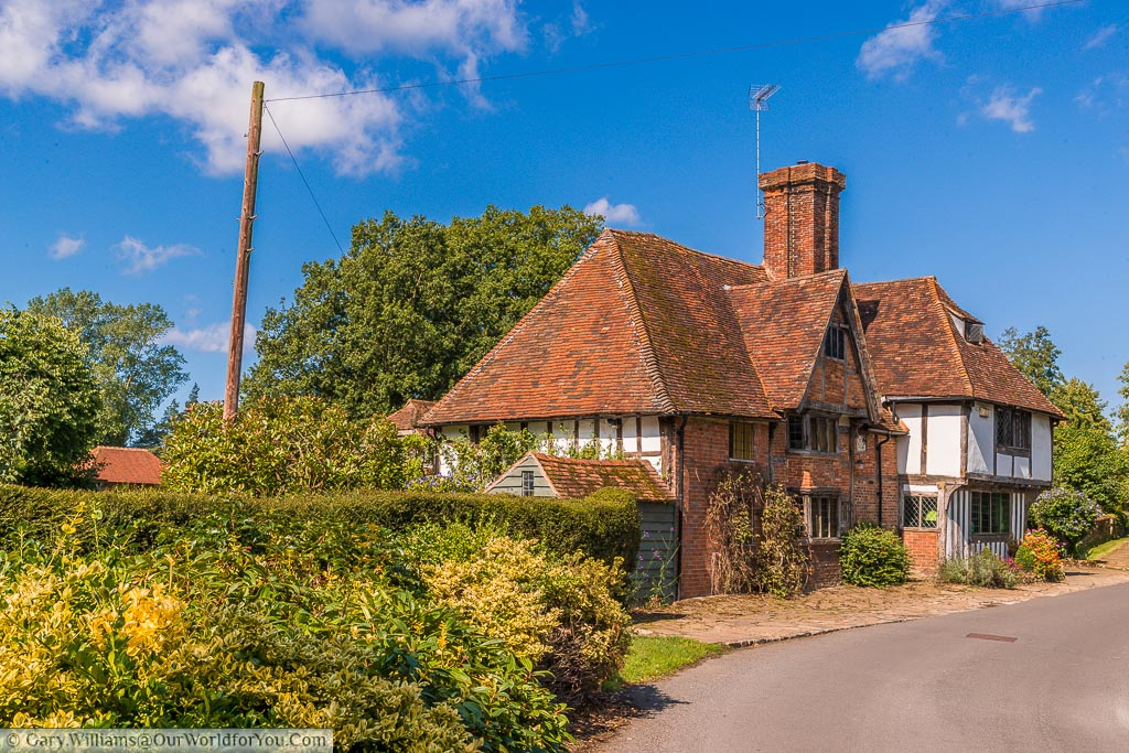 A half-timbered home, probably dating from the Tudor period, on the outskirts of the village of Smarden, Kent
