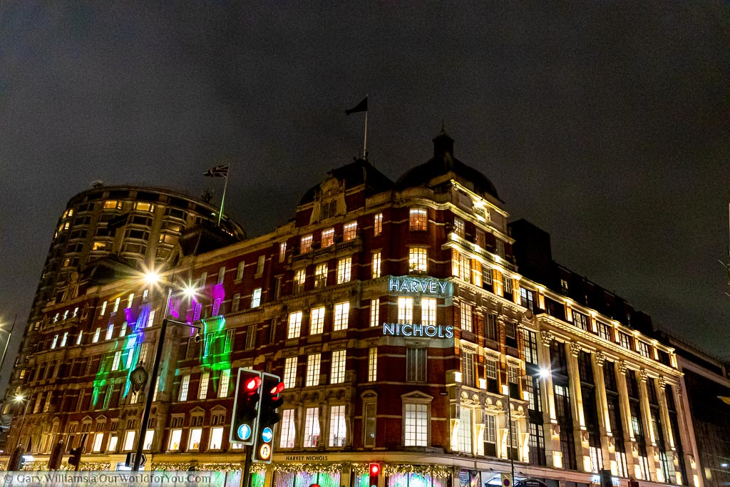 The Harvey Nichols store at dusk in London's Knightsbridge.