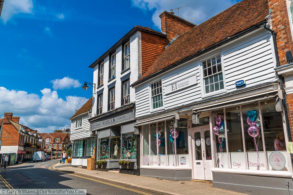 Looking along the top end of Stone Street where a selection of independent stores find home in the half-timbered historic buildings of Cranbrook.