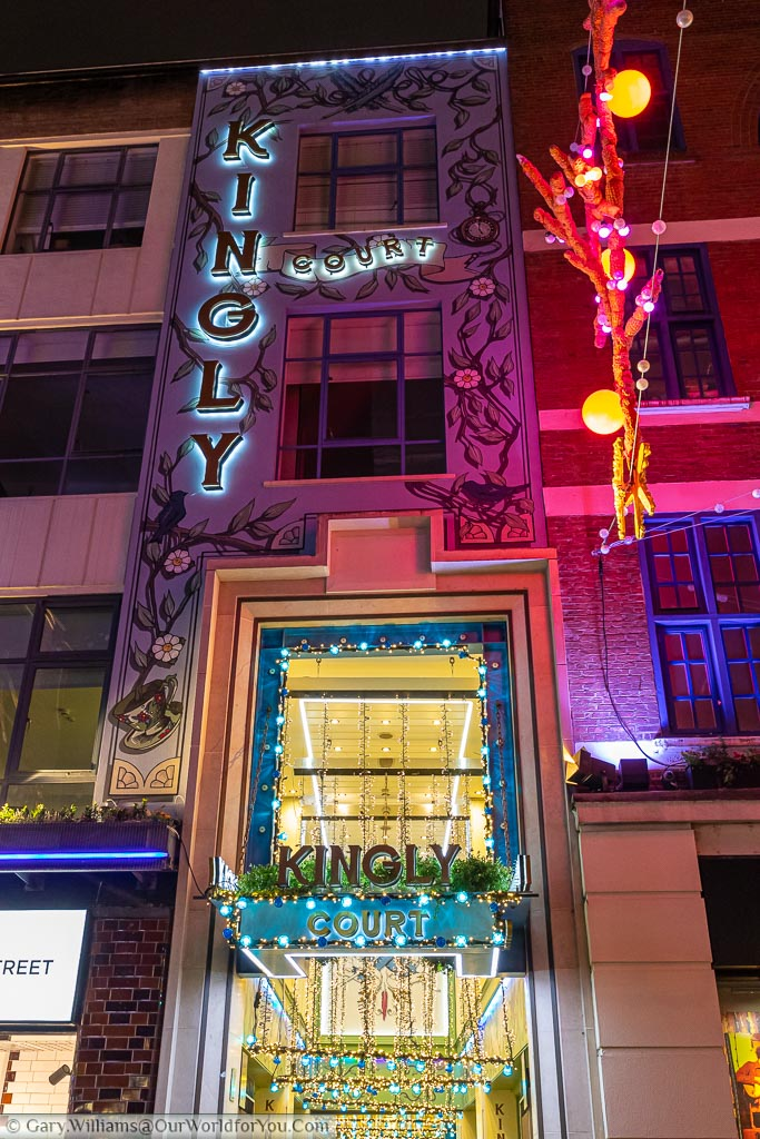 Kingly Court, off Carnaby Street beautifully decorated for Christmas