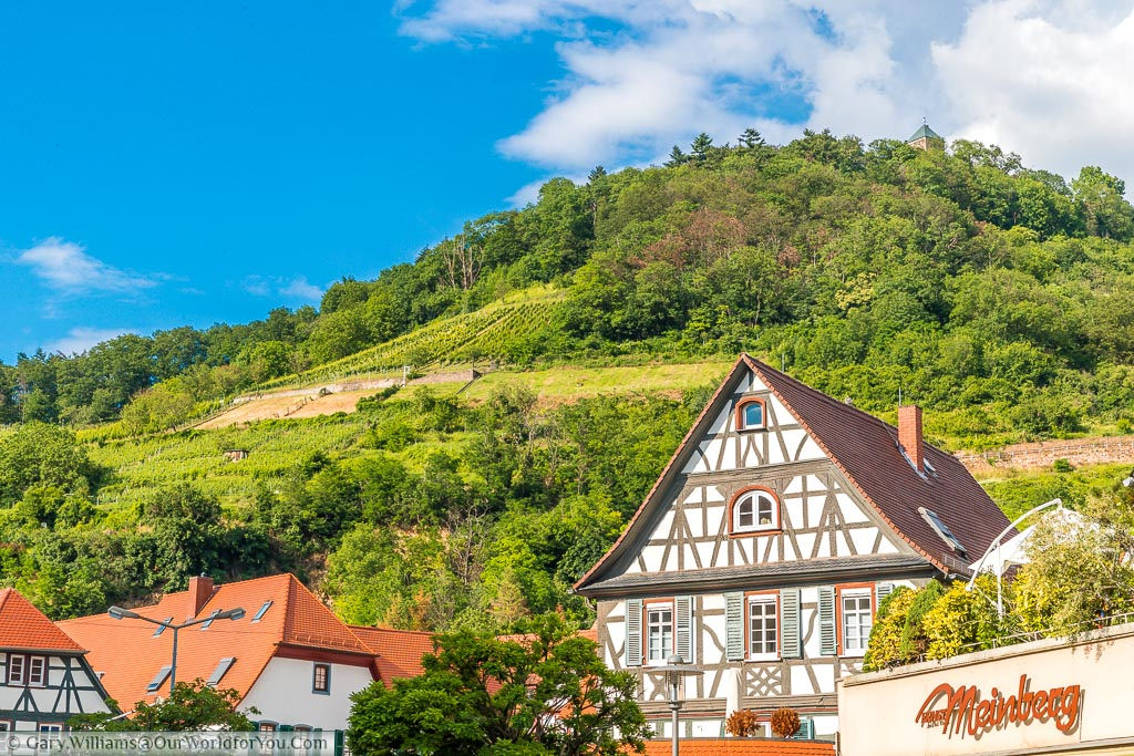 The roofline in front of the hills that provide a backdrop to Heppenheim.