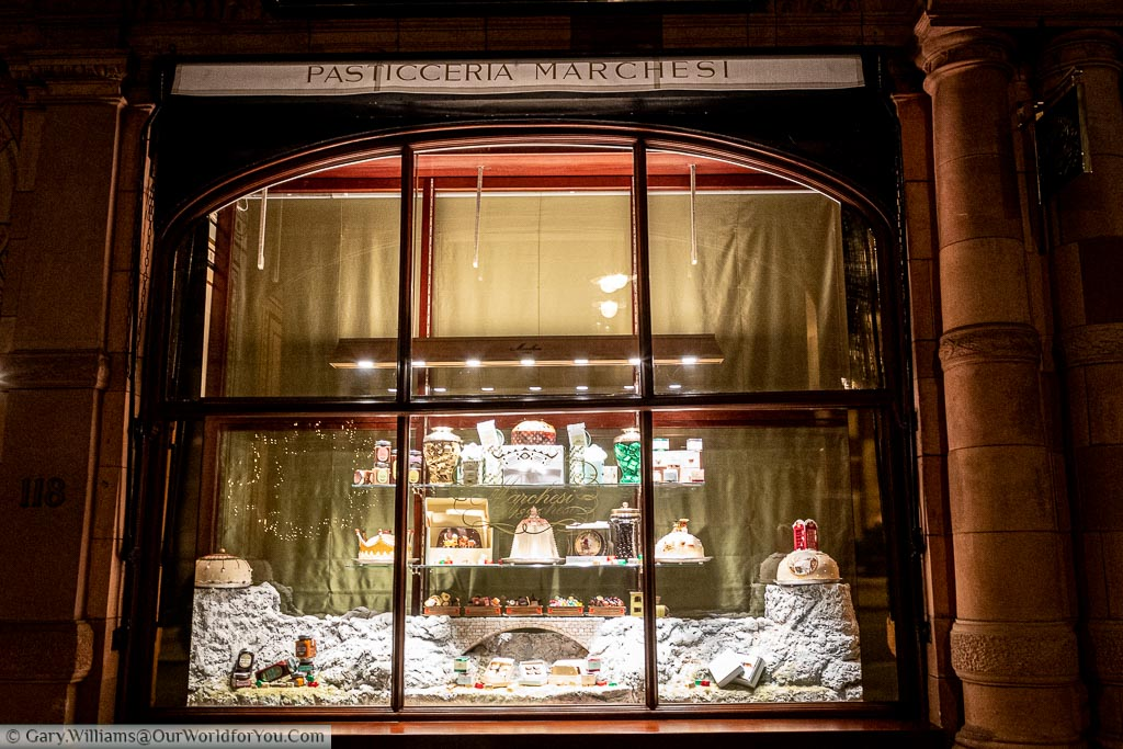 A festive window display from Pasticceria Marchesi, an Italian bakers in London's Mayfair