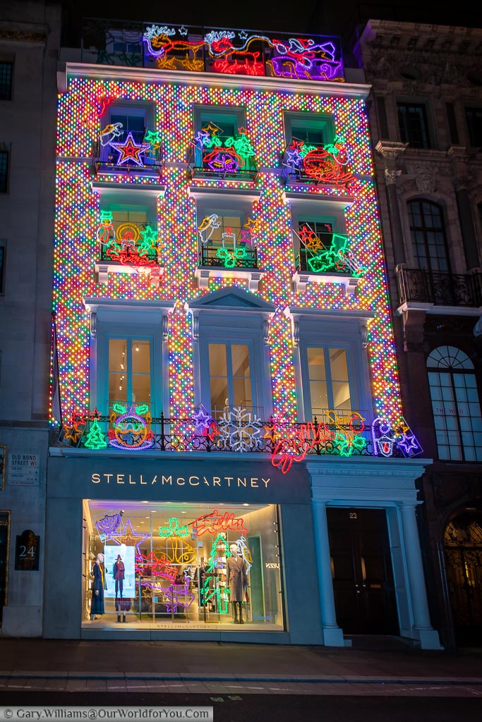 Stella McCartney's store, decorated for Christmas, in London's New Bond Street.