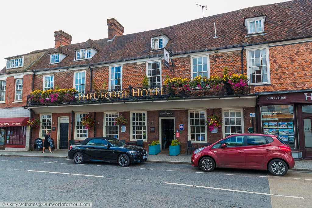 The outside of the historic George hotel in the High Street of Cranbrook