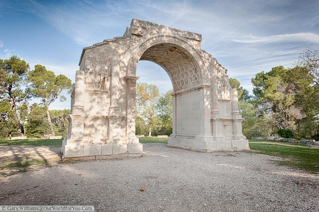 A free standing Roman triumphal arch on the outskirts of St Remy de Provence.