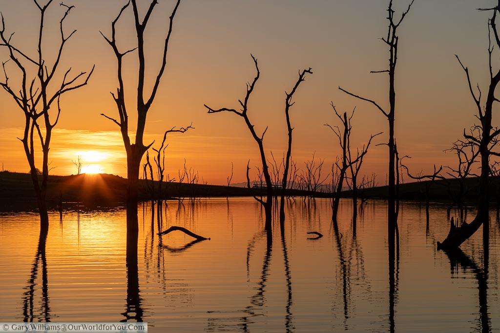 Sunset on Lake Kariba between the petrified trees that mark this amazing landscape.