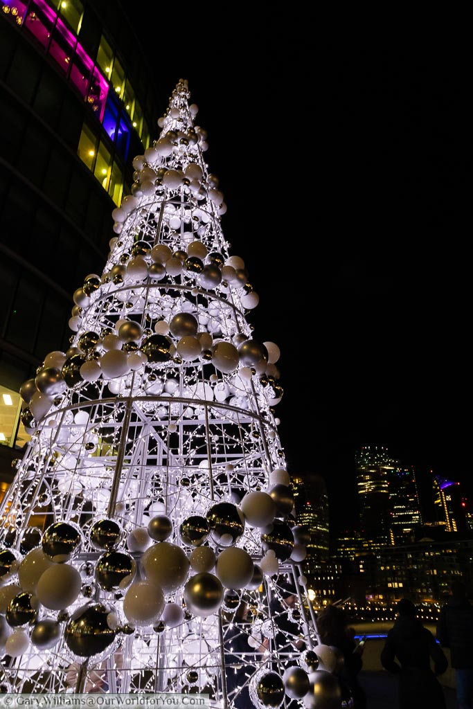 A close-up of the Christmas Tree at London's City Hall.
