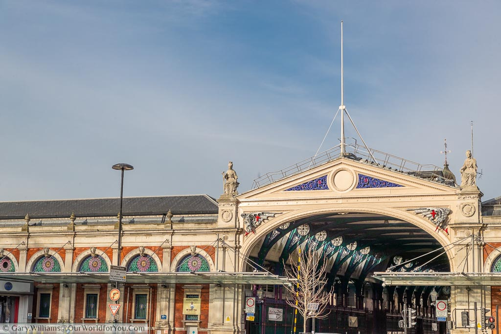 The southern entrance to the historic Smithfield meat market in the east of London