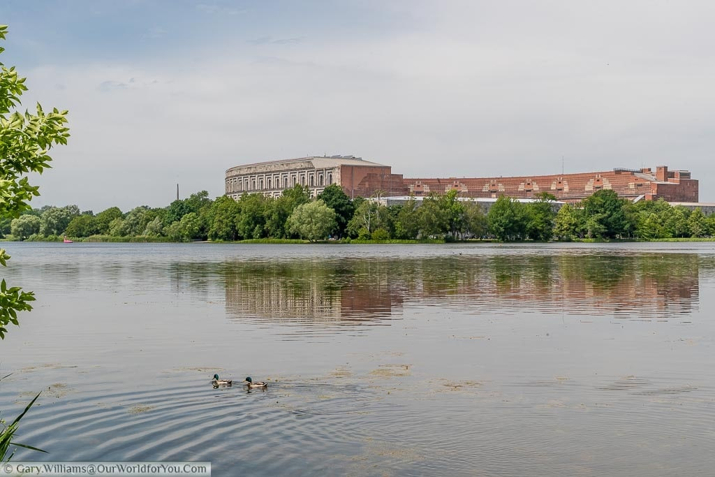 Ducks on the Dutzendteich Lake in front of the Nazi Party Congress Hall.