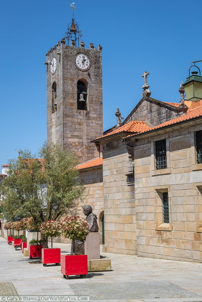 A church with its Bell tower in the backstreets of Ponte de Lima in northern Portugal