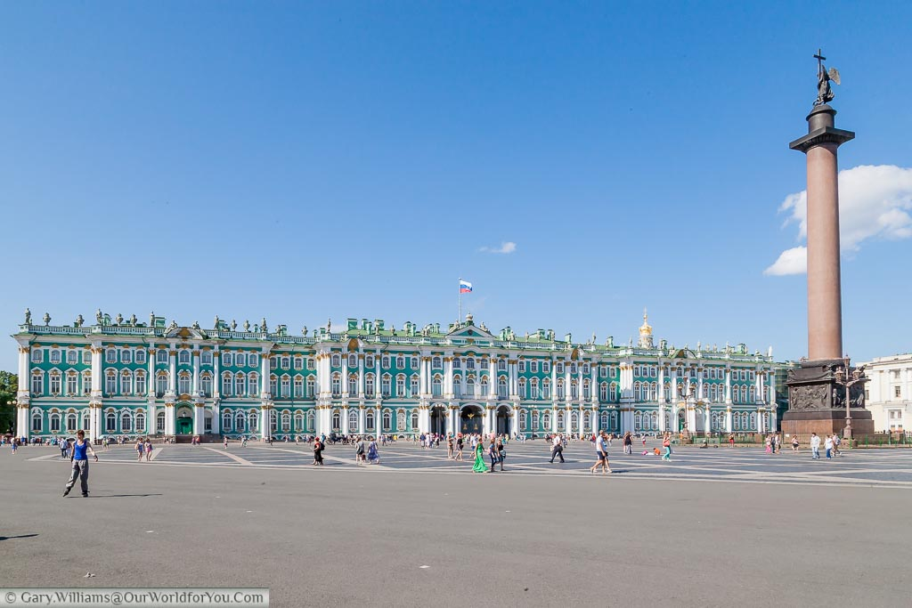 The view over Palace Square with the magnificent Winter Palace in the background that is home to the Hermitage Museum.