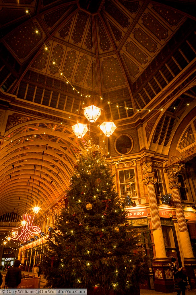 The Christmas tree at the centre of the ornate Leadenhall Market in the City of London