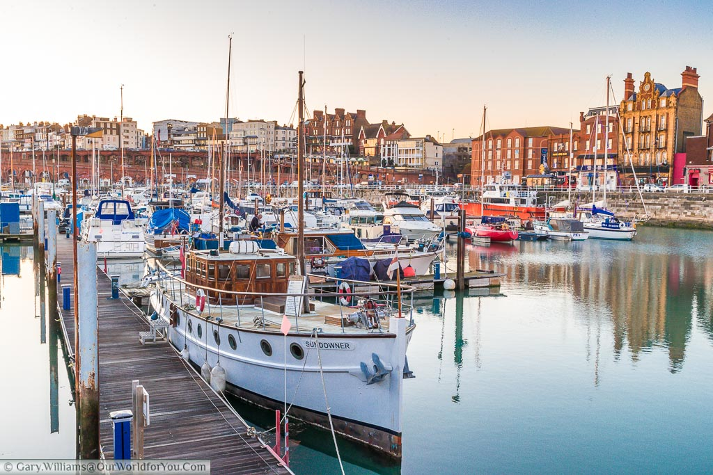 A view of the 'Sundowner' boat moored in Ramsgate Harbour.  This was one of the little boats used during the Dunkirk evacuations in the 2nd World War.