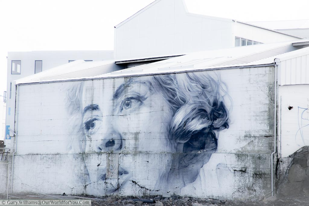 A beautiful black and white portrait of a woman on a disused building in  Reykjavik, Iceland.