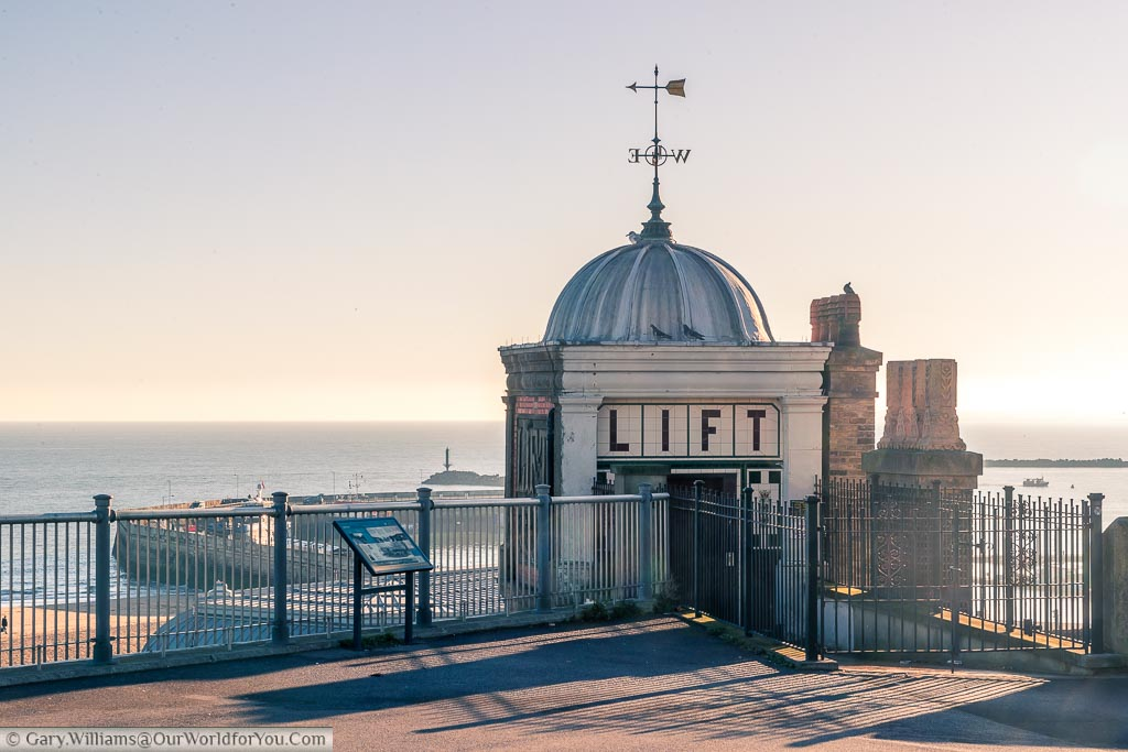 An elegant Edwardian entrance to lift from the upper promenade to the lower promenade at Ramsgate.  From here you have a view over the town's Harbour and is coastline.