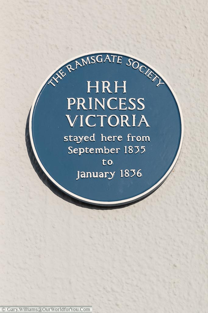 A blue plaque from the Ramsgate Society to Her Royal Highness Princess Victoria who stayed here from September 1835 to January 1836