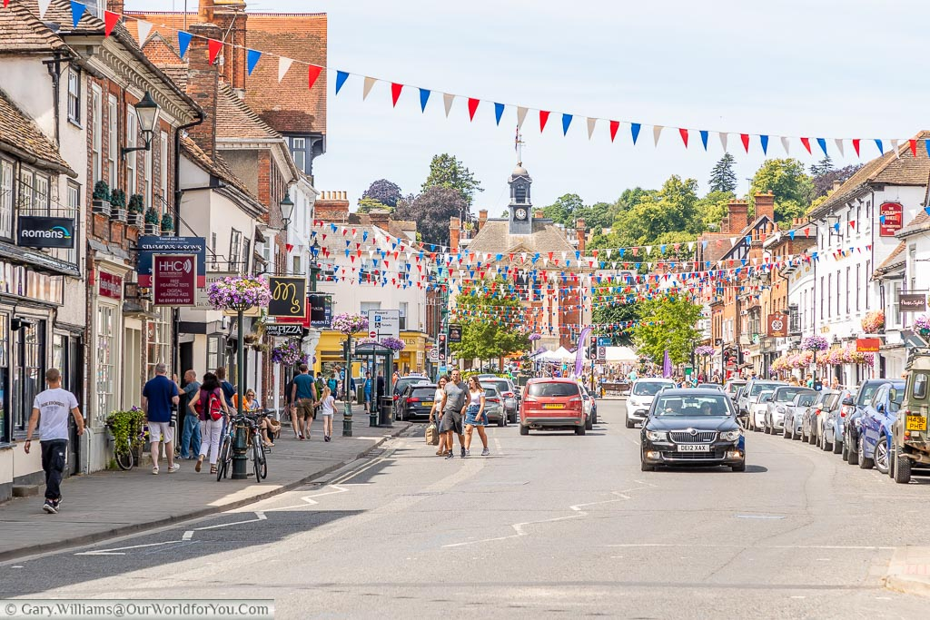 The High Street of Henley-on-Thames decorated with bunting in preparation for the Royal regatta.