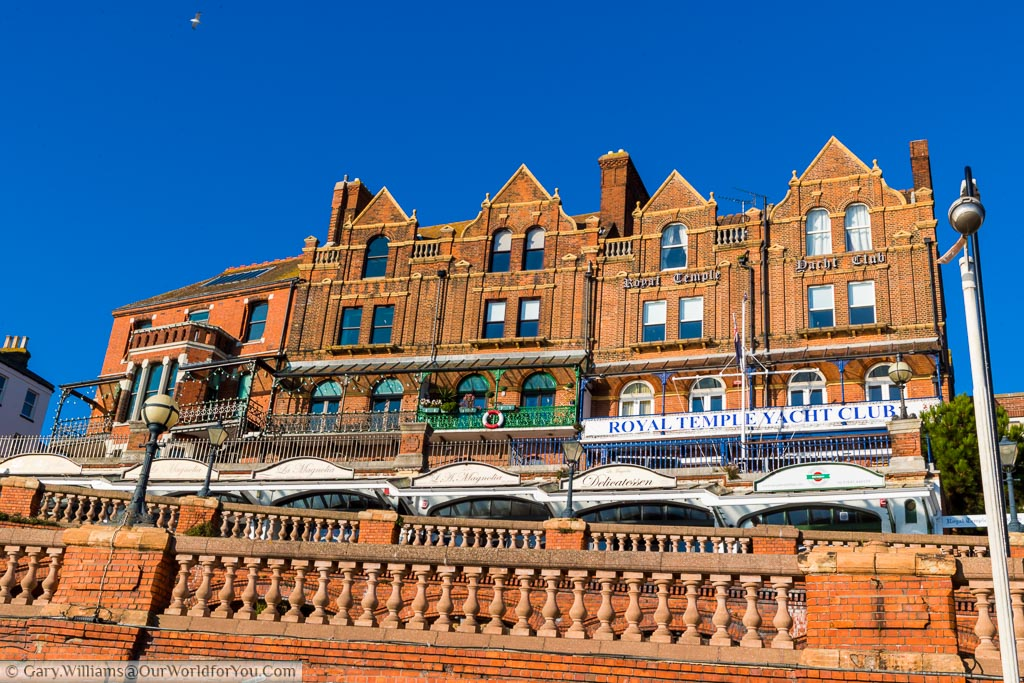 Red brick terraces that lead up to the Royal temple Yacht Club. The red brick is very much feature of the harbourside.