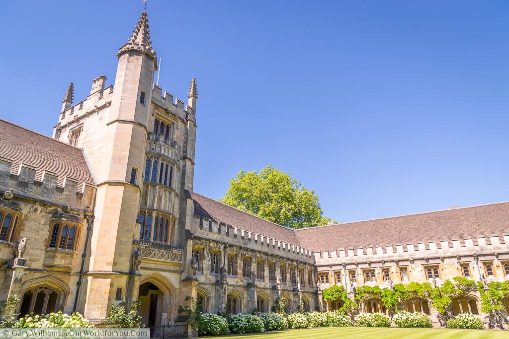 Inside Magdalen college Oxford a view of the cloisters and the tower on a summer's day