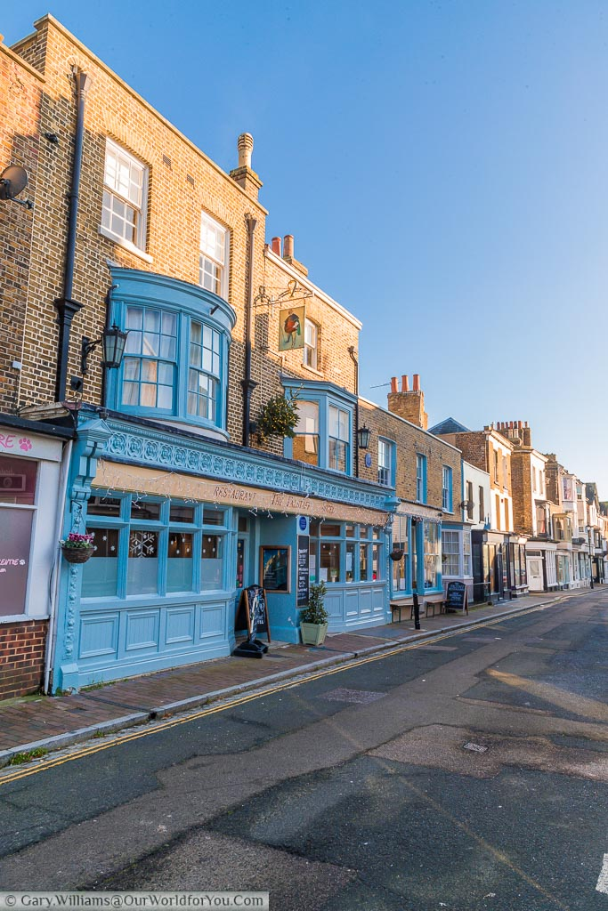 A view in Ramsgate of one of its many Victorian side streets. The focus is the Falstaff restaurant beautifully decorated in a Topaz blue.