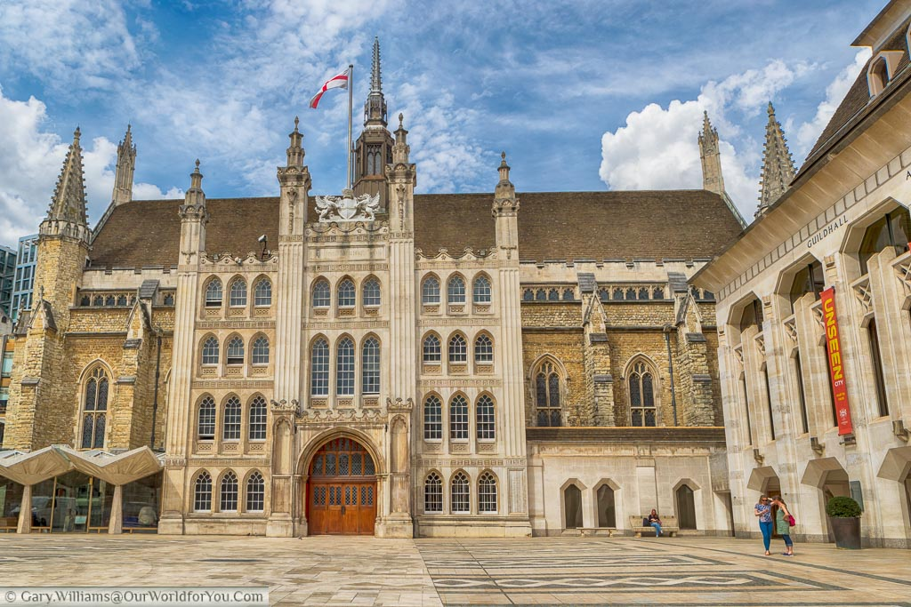The Guildhall in the centre of the City of London. This medieval town hall dates for the middle of the 15th century but has been restored a number of times due to damage through fire and war.