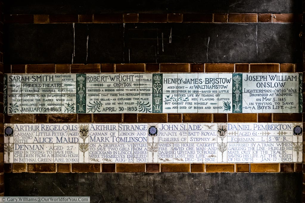 Plaques in the Memorial to Heroic Self-Sacrifice detailing those who gave their lives to save others.