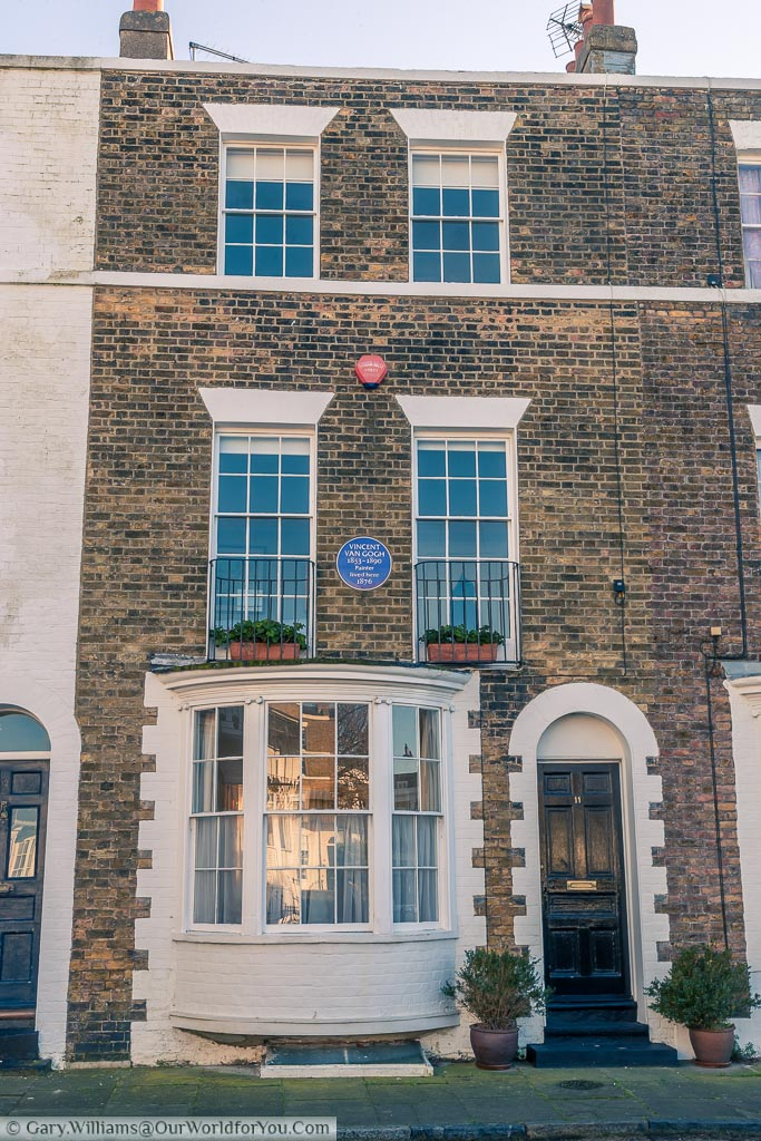 An elegant terraced home Spencer square that was once home to the artist Vincent Van Gough. A blue plaque on the wall tells you he lived here in 1876.
