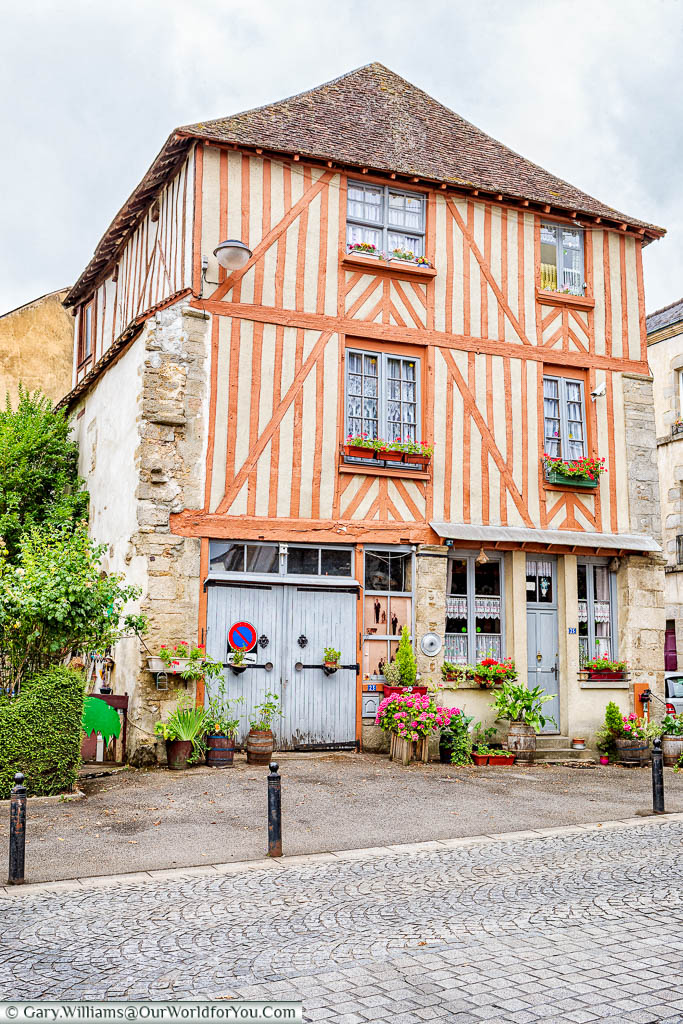 A half-timbered building that is now a private home in the centre of Alençon, Normandy.