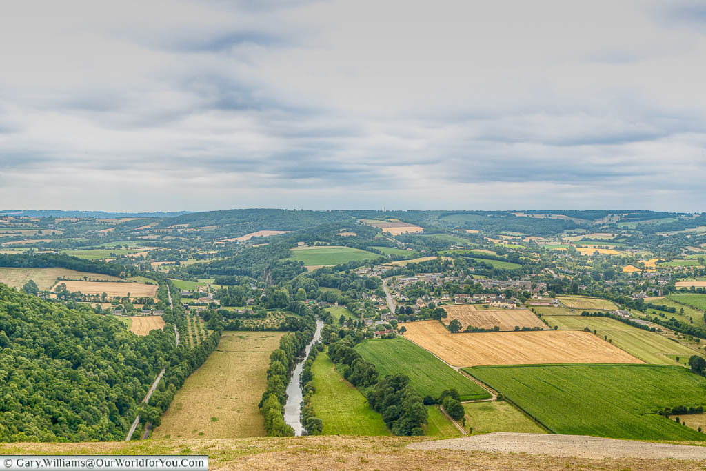 A view from a vantage point of the landscape that makes up the route 'La Suisse Normande' through Normandy.