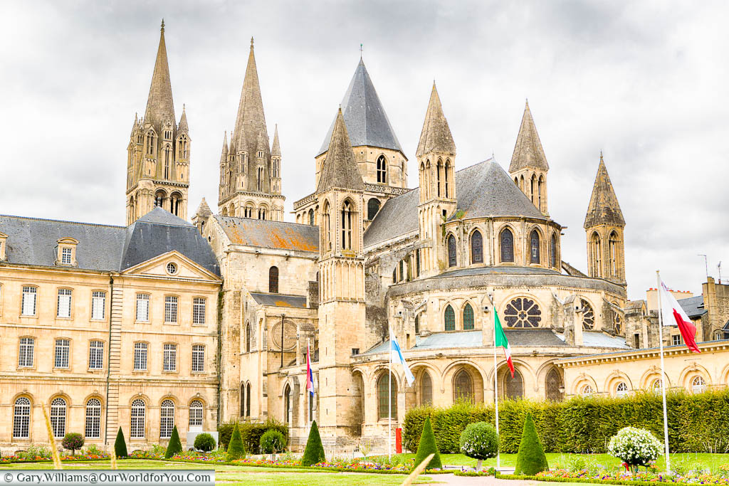 A view from the nave end of the Abbaye aux Hommes in Caen from the park in front of the town hall.