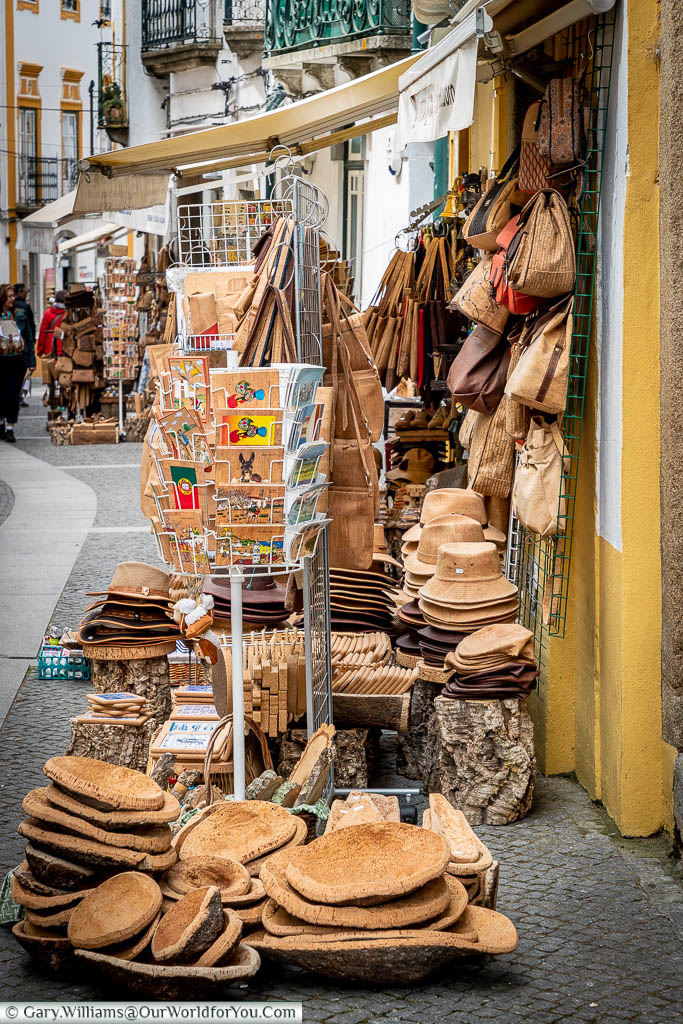 A gift shop in one of the lanes of Évora selling all things cork, from hats, handbags, postcards, place settings and so much more too.