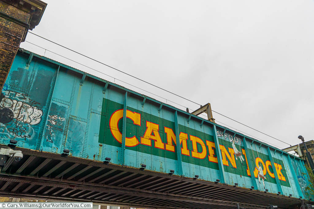 A close up of the Camden Lock railway bridge which is at the Camden Lock Place entrance to Camden Market.