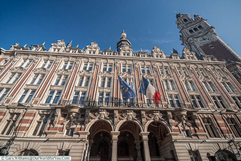 Lille's Chamber of Commerce facade, including the belfry.