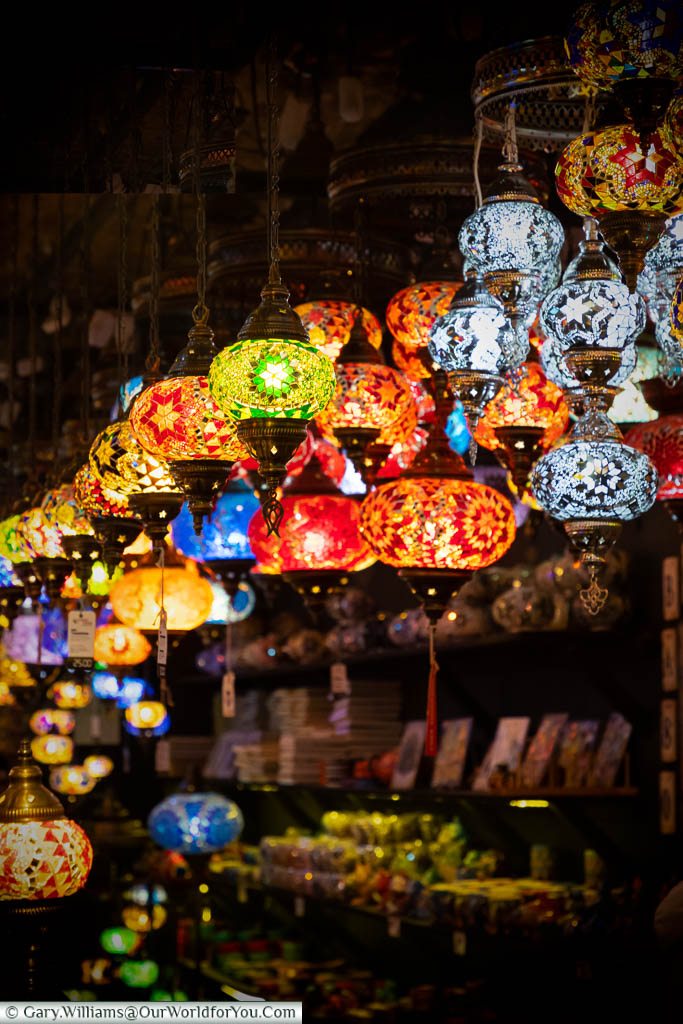 Looking like a middle-eastern bazaar, a store in Camden Market selling colourful mosaic brass lanterns.