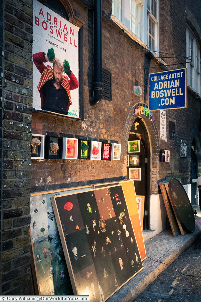 Outside the art studio of Adrian Boswell in Brick Lane, a renown collage artist.