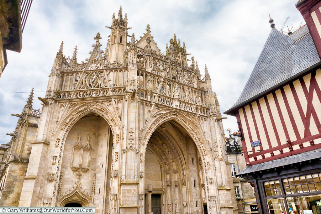 The entrance to the Gothic Basilica of Notre-Dame in Alençon, Normandy.