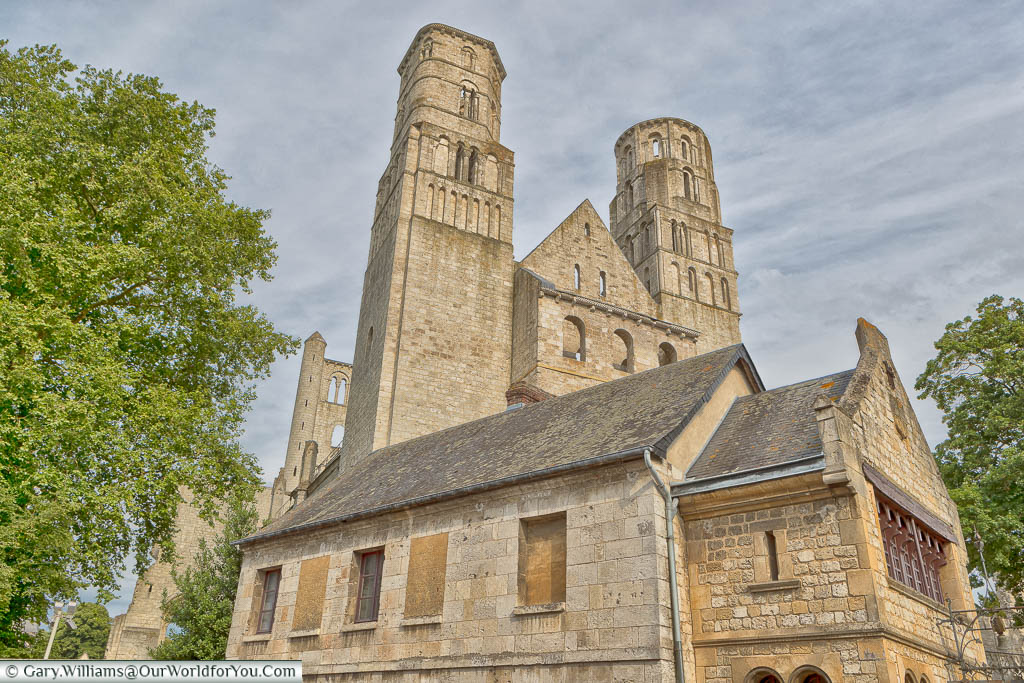 A view from the roadside of the ruins  of Jumieges Abbey in Normandy.