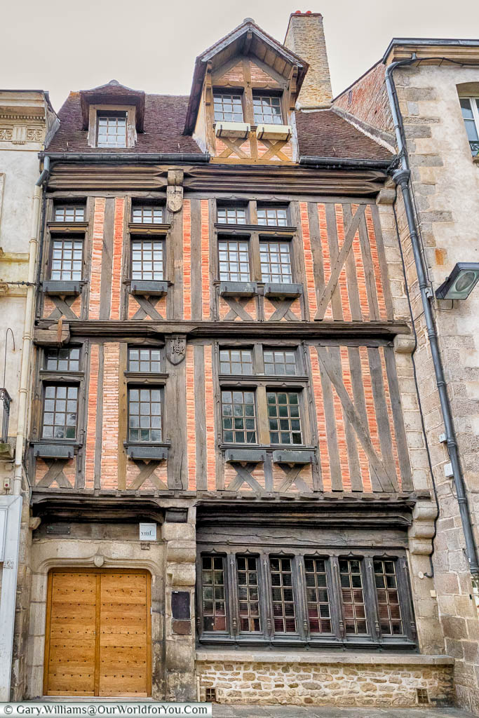 A four storey, half-timbered, building in the centre of Alençon, Normandy