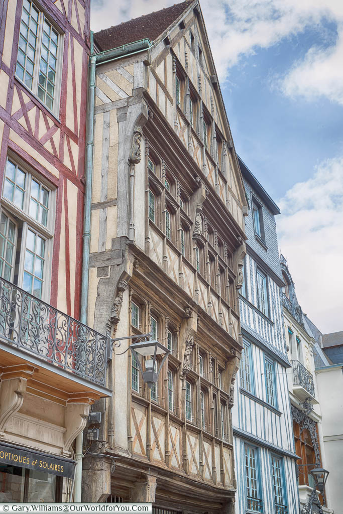 A view of the different colours of the half-timbered buildings of Rouen