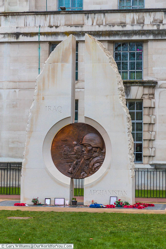 The Iraq and Afghanistan Memorial in Victoria Embankment Gardens.  It consists of two Portland monoliths with a bronze medallion mounted between them.