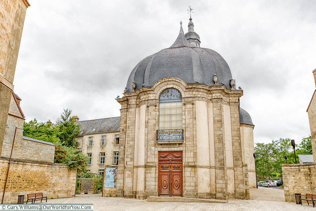 The exterior of a 17th-century Baroque church now repurposed to create a public library in Alençon.