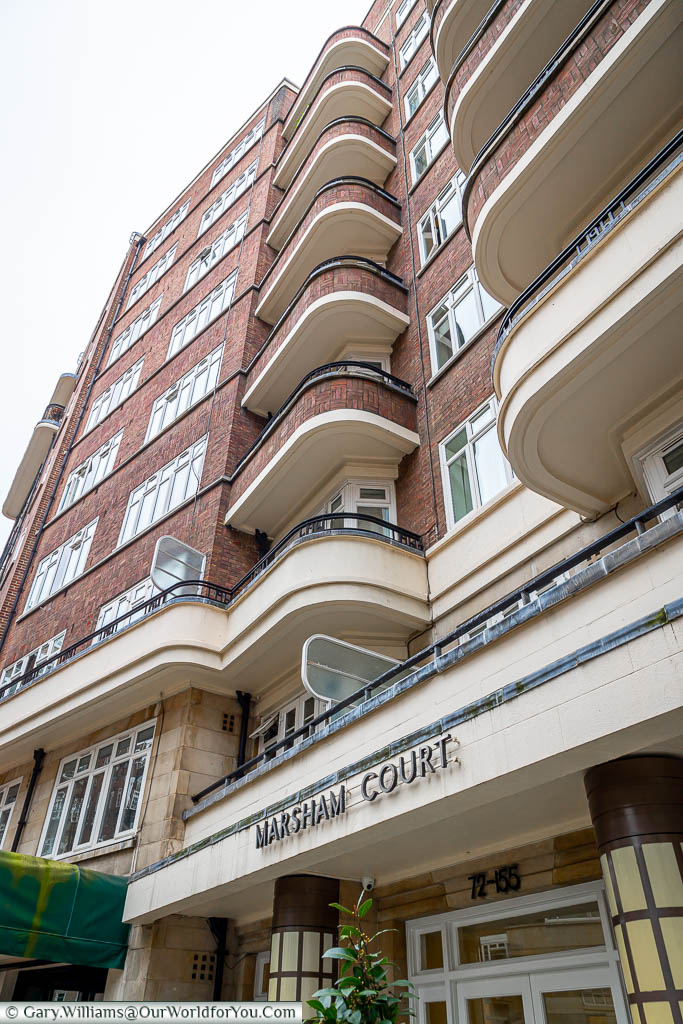 An art deco styled tower block, Marsham Court in Westminster.  Familiar red brick & cream stone that is mirrored in other buildings in the area.