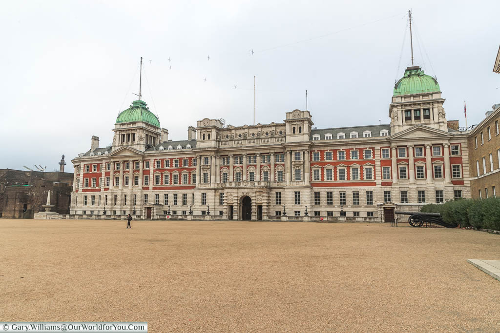 Standing on the gravel within Horse Guard Parade ground looking at the Old Admiralty Building in Whitehall.