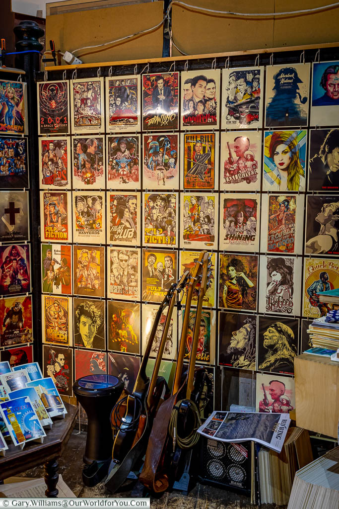 A store in Camden market selling movie-style posters and postcards of your favourite artists & films.